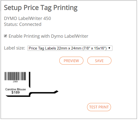 new price tag printing preview