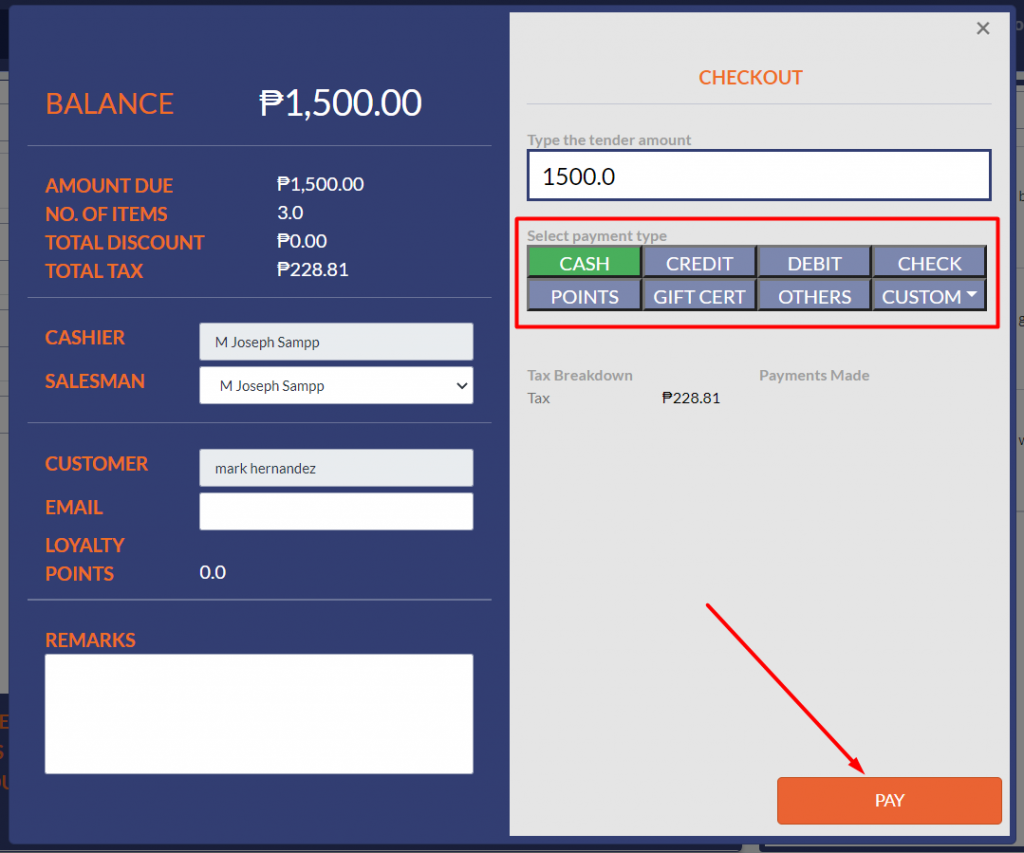 select-payment-type-and-click-pay-button